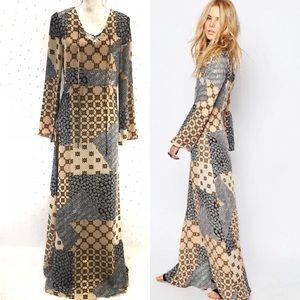 ASOS Glamorous Printed Maxi Dress Lace Up Sz 8 NWT
